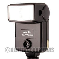 Minolta Auto 28 Bounce Wide Flash with Hot Shoe fits many manual SLR Cameras and some Digital models